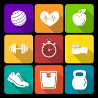 Fitness platta ikoner vektor