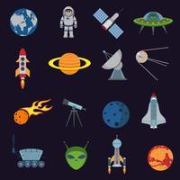 Space och astronomi ikoner vektor