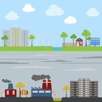 Industriella och ekologiska stadskoncept vektor