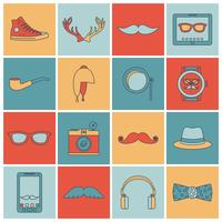 Hipster-ikoner sätter en platt linje vektor