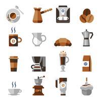Kaffe ikoner platt set