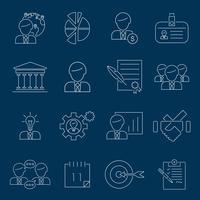 Geschäftsführung Symbole umreißen vektor
