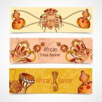 Afrika skissar färgade banners horisontellt