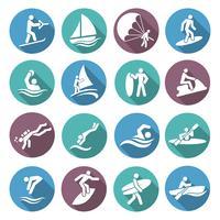 Vattensporter ikoner uppsättning