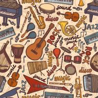 Musikinstrumente skizzieren nahtloses Muster vektor