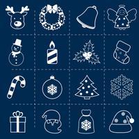 Weihnachtsikonen stellen Umriss ein vektor
