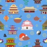 Kinesiskt hus sömlöst mönster vektor