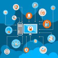 Dataskydd Säkerhet Koncept vektor