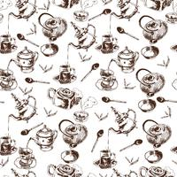 Nahtloses Muster der Teekanne und der Schalen
