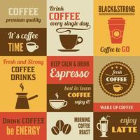 Kaffee-Mini-Poster-Set vektor