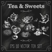Teekannen und Tassen stellen Tafel