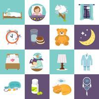 Sova tiden ikoner platt