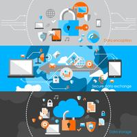 Säkerhetsbanners för dataskydd vektor