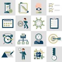 Zeitmanagement-Symbole festgelegt