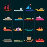 Fartyg och båtar ikoner uppsättning vektor