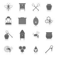 Bee honung ikoner svart uppsättning vektor