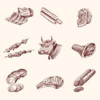 Skizze Fleisch Symbole vektor