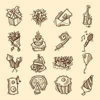 Födelsedagsskiss ikonuppsättning vektor