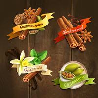 Kryddor märken uppsättning vektor
