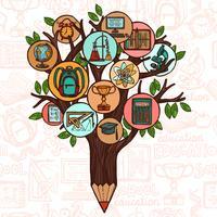 Baum mit Bildungsikonen vektor