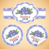 Blueberry jam etiketter vektor