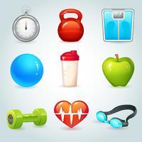Sport och fitness ikoner vektor