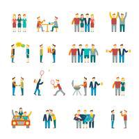 Vänner ikoner platt