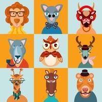 Hipster djur ikoner platt vektor