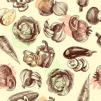 Grönsaker skissar sömlöst mönster vektor