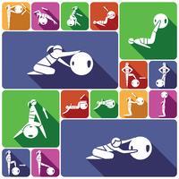 Fitnessbollsymboler som är platta