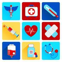 Medicinska platta ikoner uppsättning