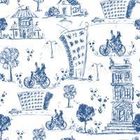 Doodle City sömlöst mönster