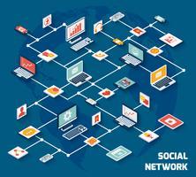 Socialt nätverk isometrisk vektor