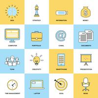 Affär ikoner platt linje uppsättning