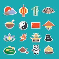 Kinesiska ikoner klistermärken vektor