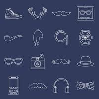 Hipster-ikoner som skisseras