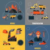 Kohleindustrie flach eingestellt vektor