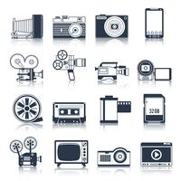 Fotovideoikonen schwarz eingestellt
