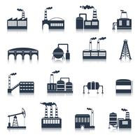 industribyggnad ikoner svart