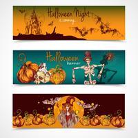 Halloween färgade banners horisontella vektor