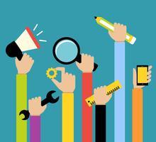 Business Hände Werkzeuge vektor
