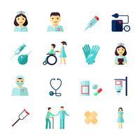 Sjuksköterska ikon platt vektor