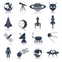 Weltraum-Icons schwarz vektor