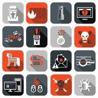 Hacker-Symbole legen flach