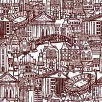 Sketch City sömlöst mönster vektor