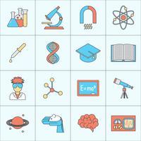 Vetenskap och forskning ikon platt linje