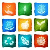 Ekologi ikoner akvarell