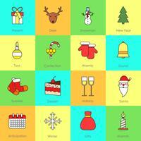 Jul ikoner sätta fast linje