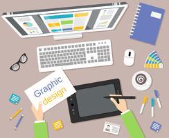 Designer på arbetsplatsen ovanifrån vektor