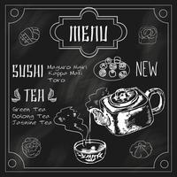 Japansk tekanna och kopp svart tavla